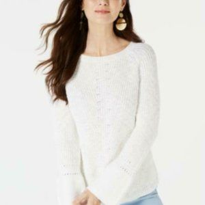 Style & Co Women's White Scoop Neck Bell Sleeve